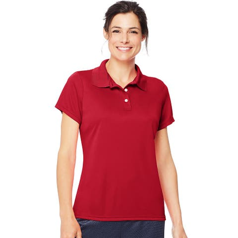 Hanes Cool DRI® Women's Polo - Size - L - Color - Deep Red