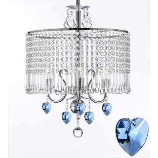 Contemporary 3-light Crystal Swag Plug In Chandelier with Blue Crystal Hearts