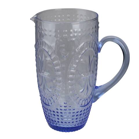 """8.75"""" Blue Textured Glass Beverage Pitcher"""