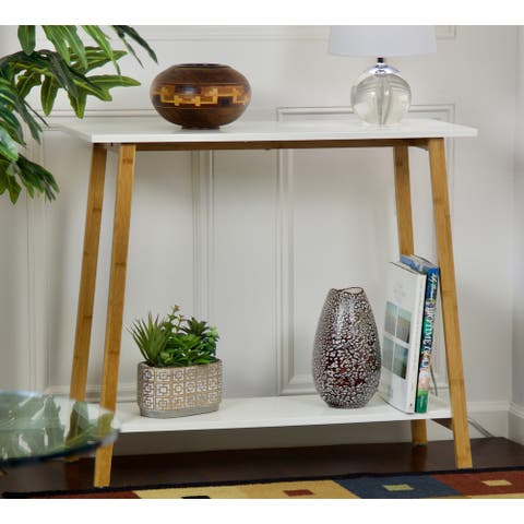 Carson Carrington Kakarberg 2-Tier Solid Bamboo Frame Console Table