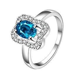 Light Sapphire Square Shaped Petite Ring