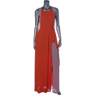 BCBG Max Azria Womens Scarleta Colorblock Cowl Back Evening Dress