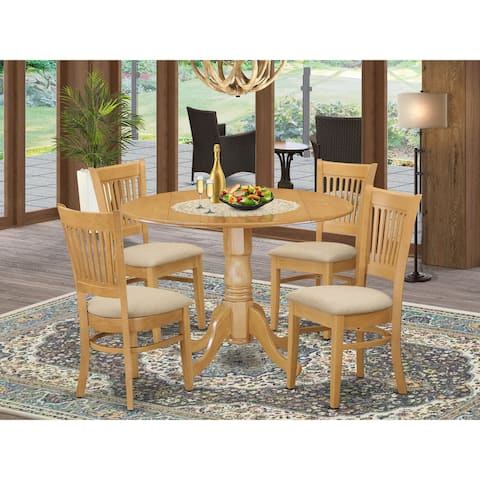 5-piece Dining Set - Round Table with 4 Kitchen Chairs Finished in Oak Color