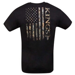 King's Camo USA Flag Logo Stripe Mens Short Sleeve Black Tee Shirt