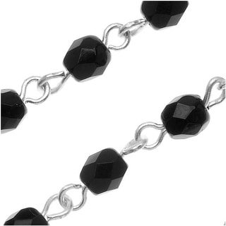 Czech Fire Polished Bead Silver Plated Link Chain 4mm Jet Round - By The Inch