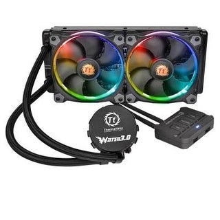 Thermaltake Water 3.0 Dual Riing Rgb High Static Pressure Fans 240 Aio Water Cooling System Cpu Cooler Cl-W107-Pl12sw-A