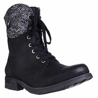 White Mountain Raymond Knit Cuff Ankle Booties, Black