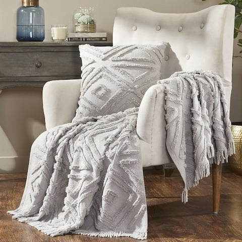 Fabstyles Mirage Cotton Throw Blanket With Fringes 50x60