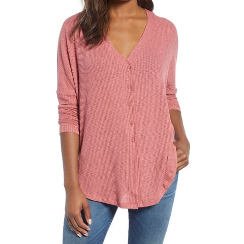 Caslon Pink Womens Size XS Ribbed Button Down Cardigan Sweater