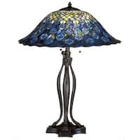 Meyda Tiffany 28504 Stained Glass / Tiffany Table Lamp from the Peacock Feather Collection - n/a