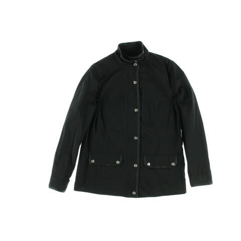 Lauren Ralph Lauren Womens Raincoat Faux Leather Trim Long Sleeves - Black - S
