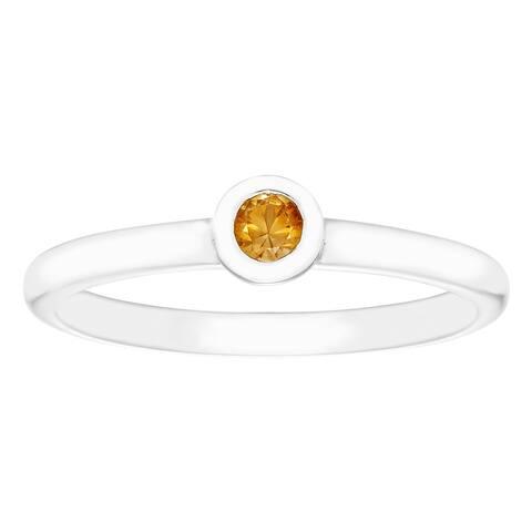 Boston Bay Diamonds .15 Tgw. Citrine Birthstone Sterling Silver Ring
