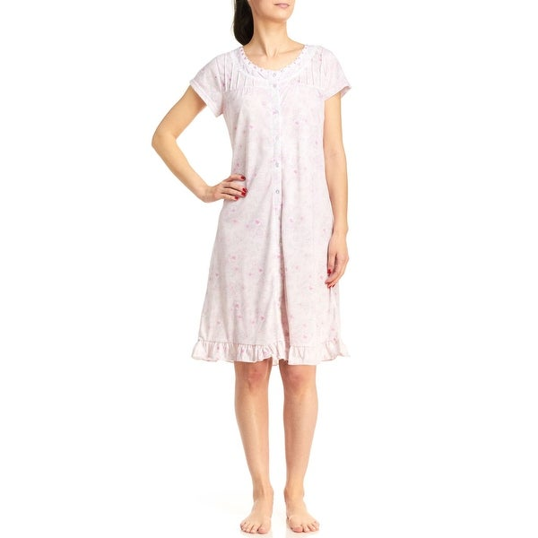 Body Touch Plus-Size Women's Button Front Floral Nightgown
