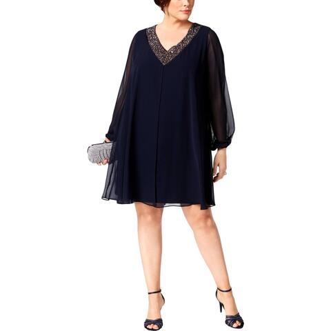 Betsy & Adam Womens Plus Party Dress Beaded V-Neck