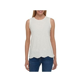 Tommy Hilfiger Womens Casual Top Embroidered Scalloped Hem