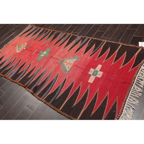 "Hand Woven Vintage Southwestern Afghan Kilim Area Rug (3'9""x6'7"") - 3'9"" x 5'9"""