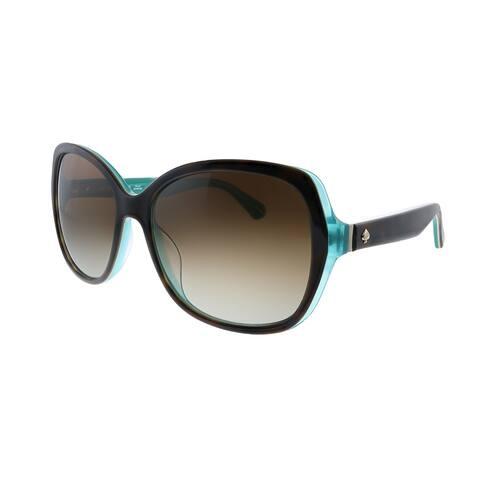 Kate Spade KS Karalyn/S KL3 Womens Havana Matte Z Aqua Frame Brown Gradient Polarized Lens Sunglasses