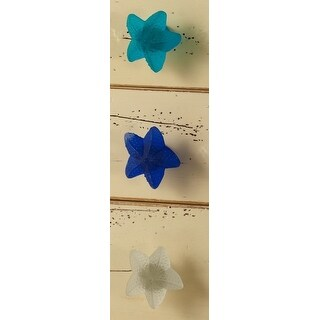 Starfish Seaglass Drawer Knobs Pulls Set of 3 Blue Teal White
