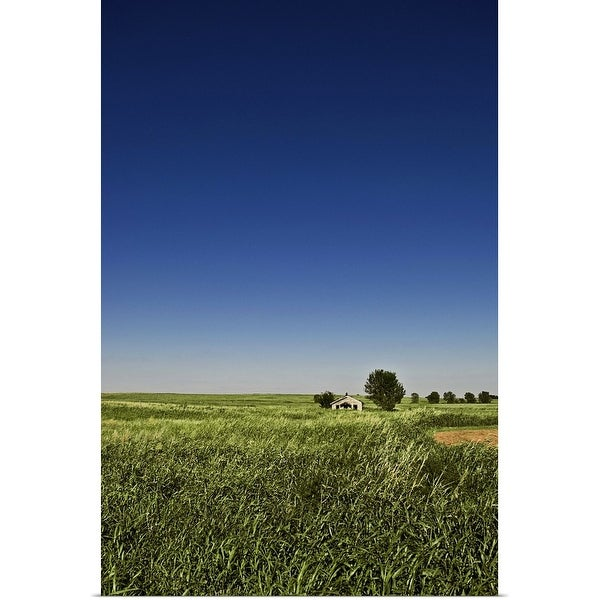 """Abandoned house sits in a field in the desolate grassy plains of southwest Oklahoma."" Poster Print"