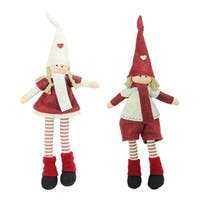 Set of 2 Plush Red and Beige Boy and Girl Sitting Christmas Doll Decorations 15.75""