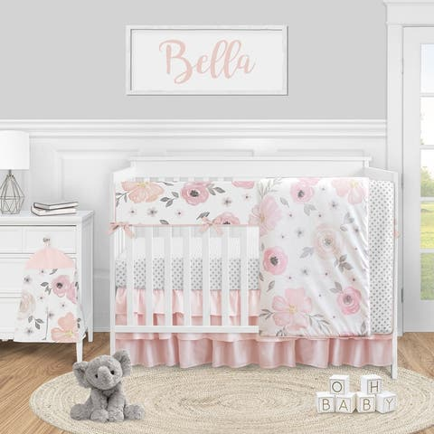 Pink Grey Watercolor Floral Collection Girl 5pc Nursery Crib Bedding Set - Blush Gray White Shabby Chic Rose Flower Polka Dot