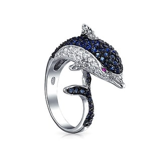 Nautical Pave Cubic Zirconia Navy Blue CZ Bypass Statement Dolphin Band Ring For Women Black Silver Plated Brass