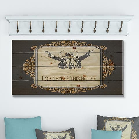 Designart 'Lord Bless this house. Vintage Jesus' Textual Entrance Art on Wood Wall Art - Grey