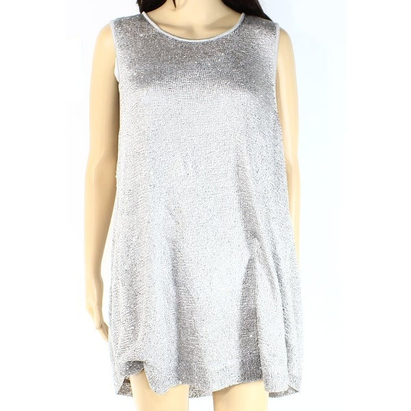 b02e502d8af4c Shop Alfani NEW Gray Silver Women s Size Large L Sequined Knit Tank ...