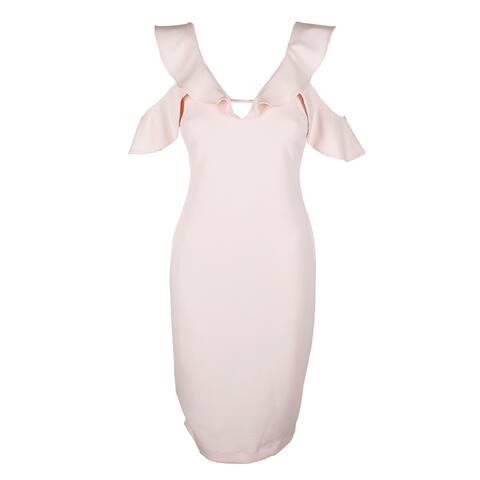 Rachel Rachel Roy Pink Ruffle Cold-Shoulder Sheath Dress 12
