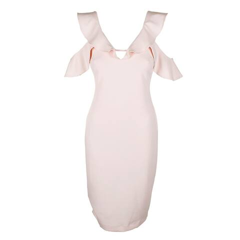 Rachel Rachel Roy Pink Ruffle Cold-Shoulder Sheath Dress 4