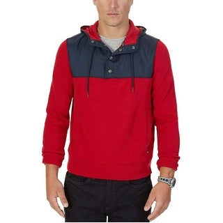 Nautica Red and Navy Mixed Media Half Snap Hooded Sweater XX-Large