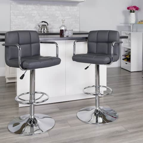 """Quilted Vinyl Adjustable Height Barstool with Arms and Chrome Base - 20""""W x 18""""D x 36.75"""" - 45.25""""H"""