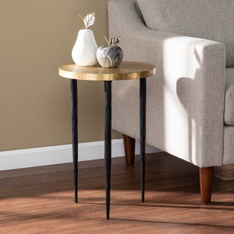 Strick & Bolton Jedwick Round End Table w/ Embossed Top, Brass/Black