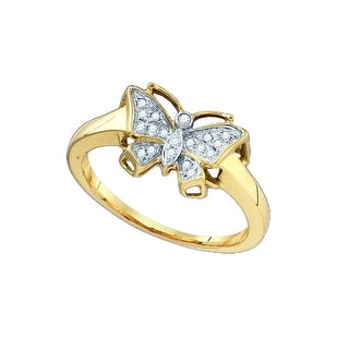 10k Yellow Gold Natural Diamond Womens Unique Small Dainty Butterfly Bug Cluster Ring .07 Cttw - White