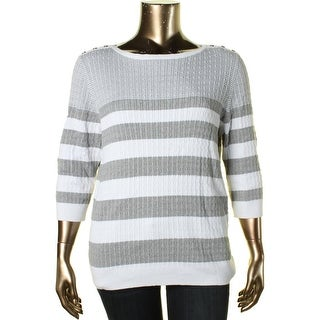 Karen Scott Womens Plus Cable Knit 3/4 Sleeves Pullover Sweater - 2X