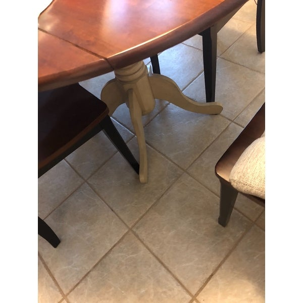 Shop International Concepts Antique White And Espresso Wood 42 Inch Round  Dual Drop Leaf Pedestal Table   Antiqued Almond/espresso   Free Shipping  Today ...