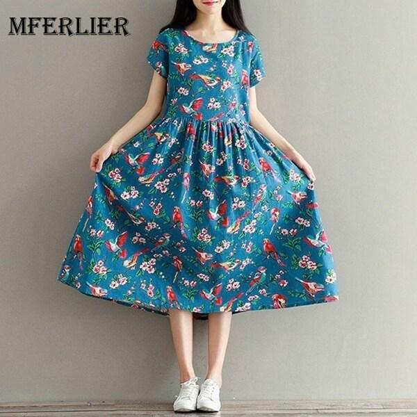 dd9f35f565d8 Women Summer Dress Mori Girl Short Sleeve Floral Print A Line Dress Blue Color  High Waist
