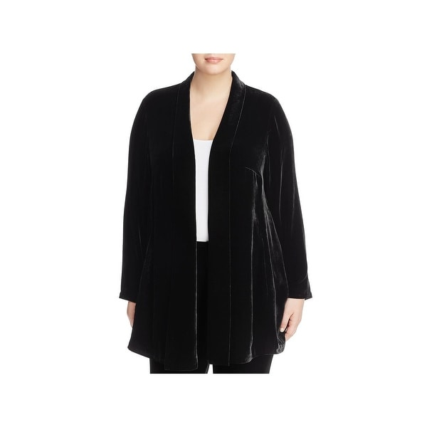 64327d4ab2691 Eileen Fisher Womens Plus Shawl-Collar Sweater Velvet Open Front - 3X