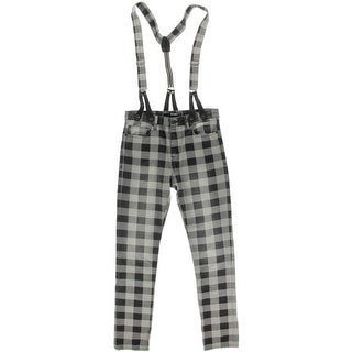 Rocawear Mens Plaid Skinny Fit Overall Jeans