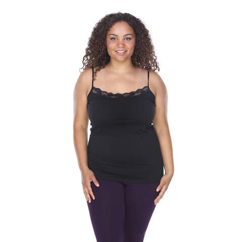 Plus Size Lace Trim Tank Top - Black