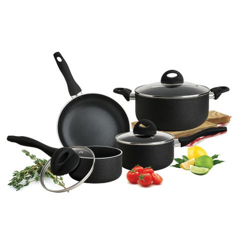 Culinary Edge CE2477 7 Piece Textured Exterior Nonstick Cookware Set, Black