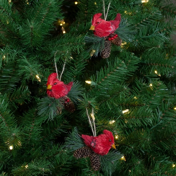 Shop Black Friday Deals On Set Of 3 Red Cardinal Birds On Pine Cone Nest Christmas Ornaments 5 Overstock 20550468