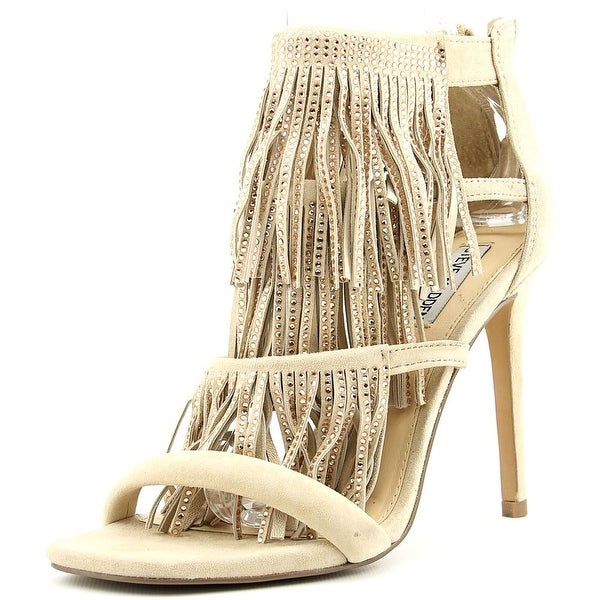 Steve Madden Fringly Women Open Toe Suede Nude Sandals