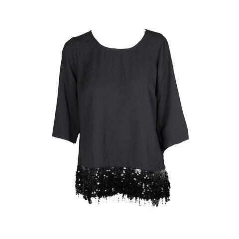 Alfani Black Sequin Fringe Hem Top 6