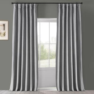 Exclusive Fabrics Signature Silver Grey Blackout Velvet Curtain (1 Panel)