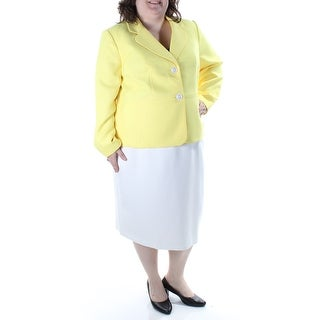 Womens Yellow Below The Knee Pencil Wear To Work Skirt Suit Size 20