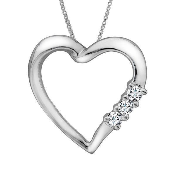 1/10 ct Diamond Heart Pendant in 14K White Gold