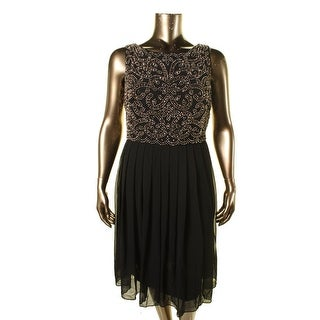 Xscape Womens Plus Chiffon Embellished Cocktail Dress