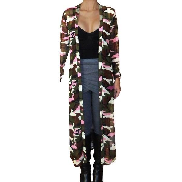 e8984e47148c0 Funfash Plus Size Women Camo Pink Mesh Kimono Long Duster Cardigan USA
