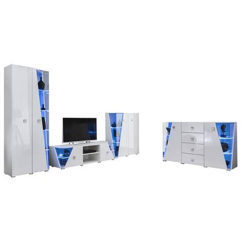 Edge Set TV-BK-CUR-SB Modern Wall Unit Entertainment Center